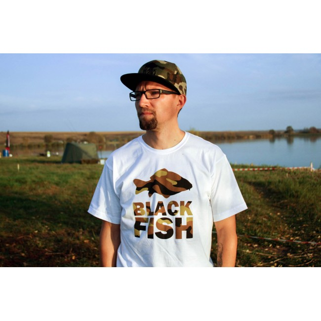 Футболка Black Fish T-Shirt White & Camo Размер M