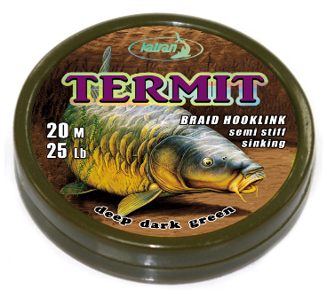 Повод. мат. без оболочки Katran Termit  20м 25lb/11,4кг (Deep dark green)