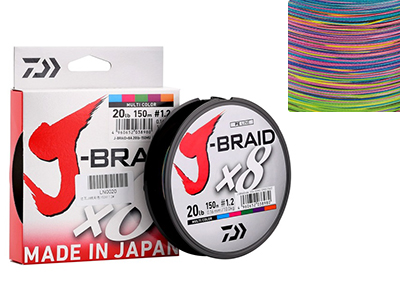 Плетеный шнур Daiwa  J-Braid X8 Multicolor  150м 8,0кг/0,13мм (Цветной)